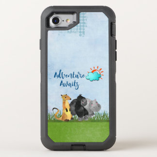 Adventure Awaits Watercolor Safari Jungle Animals OtterBox Defender iPhone 8/7 Case