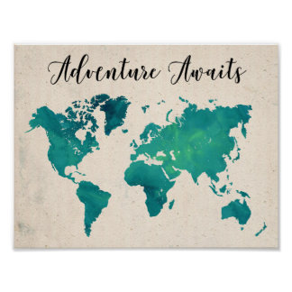 Adventure Awaits  Watercolor World Map Poster