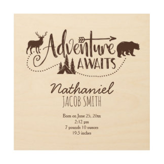 """Adventure Awaits"" Wilderness Nursery Birth Stats Wood Print"