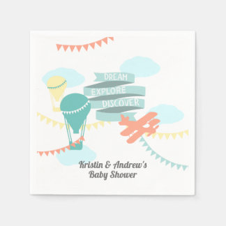 Adventure Baby Shower Airplane and Balloon Paper Napkin