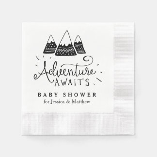 Adventure Baby Shower Napkins with Cute Mountains Paper Napkins
