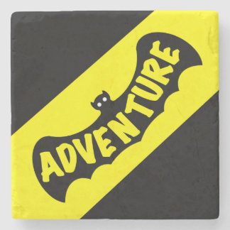 ADVENTURE BAT WITH STRIPE by Slipperywindow Stone Coaster