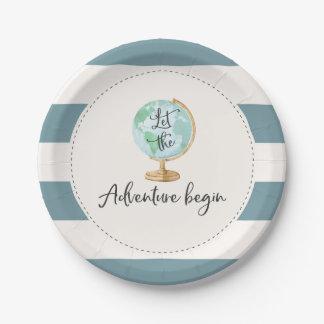 "Adventure Begins Baby Shower Paper Plate 7"""