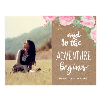 Adventure Begins Graduate | Save The Date Photo Postcard