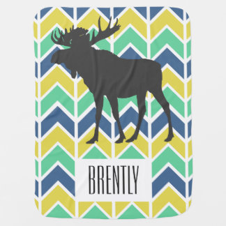 Adventure Blue Green Yellow Chevrons Moose & Name Baby Blanket