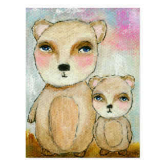 Adventure Day Whimsical Woodland Bears Art Postcard