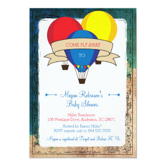 Adventure Hot Air Balloon Baby Shower Invitations