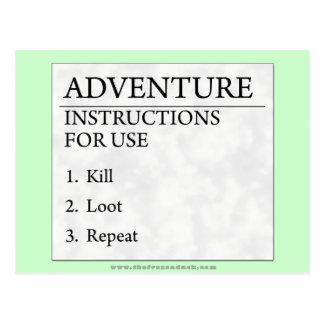 Adventure Instructions Postcard