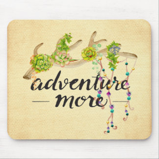 Adventure More Boho Antler Mouse Pad