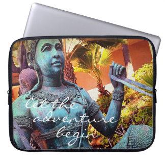 """Adventure"" Quote Asian Blue Warrior Statue Photo Laptop Sleeve"