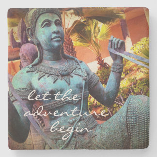 """Adventure"" Quote Asian Blue Warrior Statue Photo Stone Coaster"