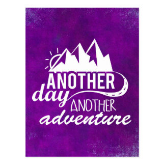 Adventure Quote - Mountains on Purple Background Postcard