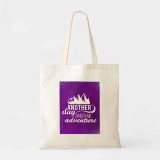 Adventure Quote - Mountains on Purple Background Tote Bag