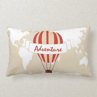 Adventure Red Hot Air Balloon & World Map Lumbar Pillow