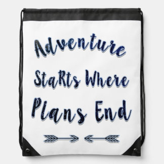 Adventure Starts Where Plans End, Blue Quote Drawstring Backpack