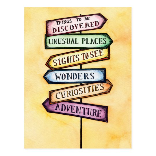 Adventure Street Sign Travel Art Postcard