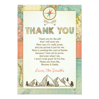 Adventure thank you card Travel Map Baby Birthday