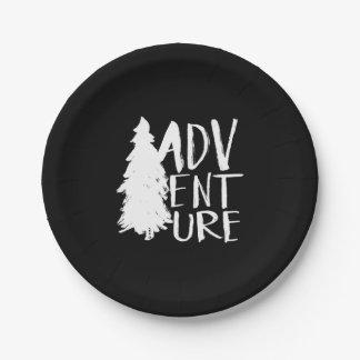 Adventure | White Brush Script style Paper Plate