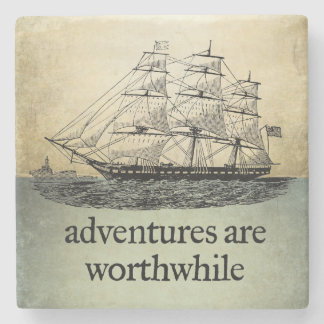 Adventures Are Worthwhile Stone Coaster