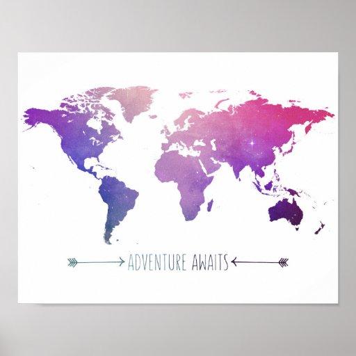 adventures await watercolor map, world poster