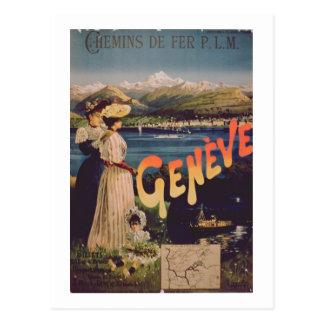 Advertisement for 'P.L.M. Railways to Geneva' (col Postcard