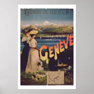 Advertisement for 'P.L.M. Railways to Geneva' (col Poster