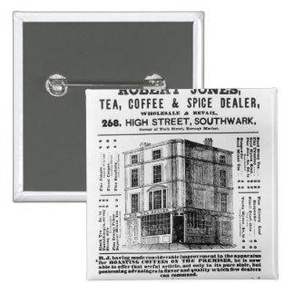 Advertisement for Robert Jones, Tea 2 Inch Square Button