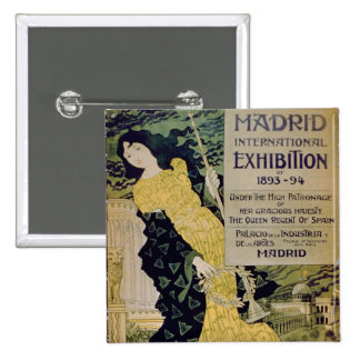 Advertisement for the 'Madrid International Exhibi 2 Inch Square Button