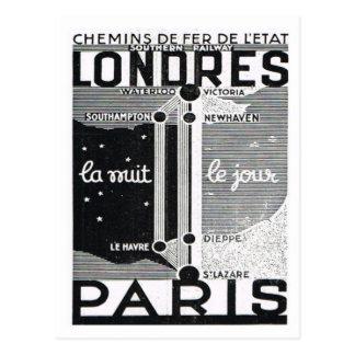 Advertisement,  Rail poster London to Paris Postcard