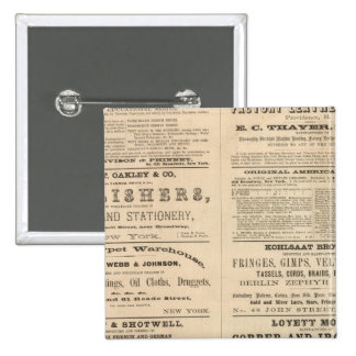 Advertisements for twelve companies, 2 inch square button