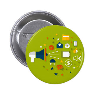 Advertising a megaphone 2 inch round button