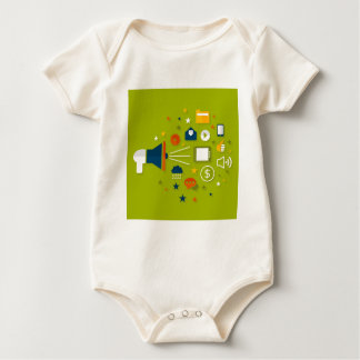 Advertising a megaphone baby bodysuit