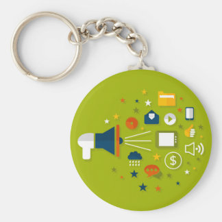 Advertising a megaphone basic round button keychain