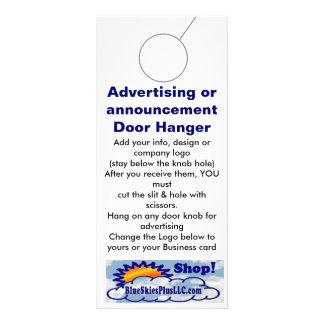Advertising DOOR HANGER promotion tags Rack Cards