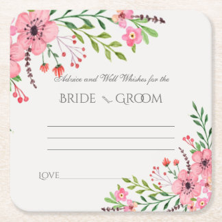 Advice and Well Wishes, Pink Watercolor Flowers Square Paper Coaster