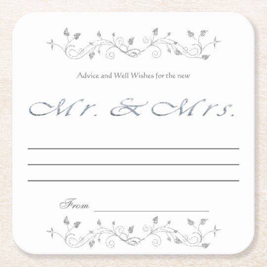 Advice and Well Wishes, Silver Glitter, Mr. & Mrs. Square Paper Coaster