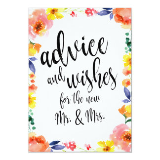 Advice and Wishes Affordable Floral Wedding Sign Card
