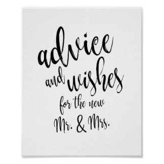 Advice and Wishes Calligraphy 8x10 Wedding Sign
