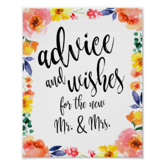 Advice and Wishes Floral 8x10 Wedding Sign