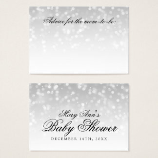 Advice Card Baby Shower Silver Sparkle Lights