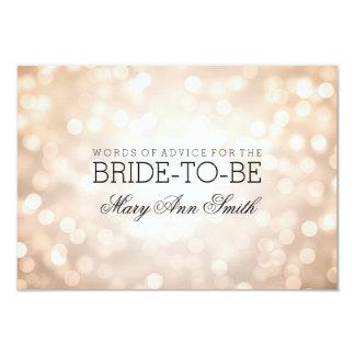 "Advice Card Bridal Shower Copper Glitter Lights 3.5"" X 5"" Invitation Card"