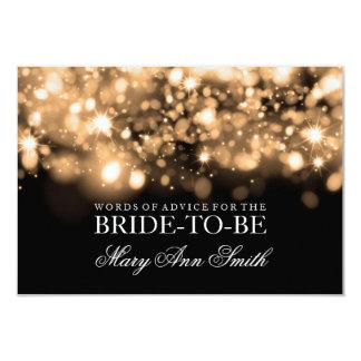"Advice Card Bridal Shower Gold Sparkling Lights 3.5"" X 5"" Invitation Card"