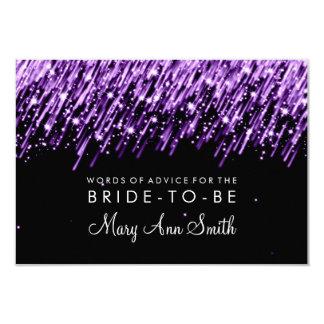 "Advice Card Bridal Shower Purple Falling Stars 3.5"" X 5"" Invitation Card"