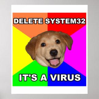 Advice Dog says: Delete the Virus Poster