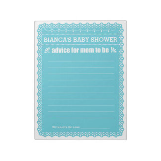 Advice for Mom To Be Blue Papel Picado Baby Shower Notepad