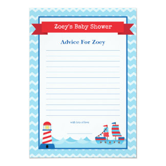 Advice for Mom To Be Confetti Nautical Baby Showe Card
