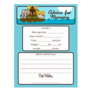 Advice for Mommy card Noah's Ark Baby Shower Postcard