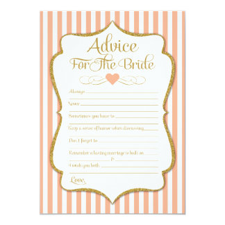 Advice For The Bride Peach Gold Bridal Shower Card