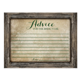 Advice for the Bride   Rustic Calligraphy Card Postcard