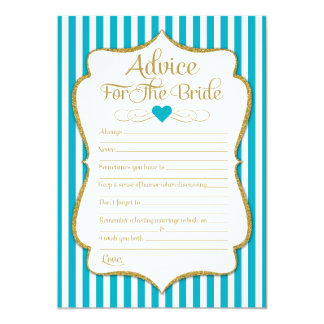 Advice For The Bride Turquoise Aqua Bridal Shower Card